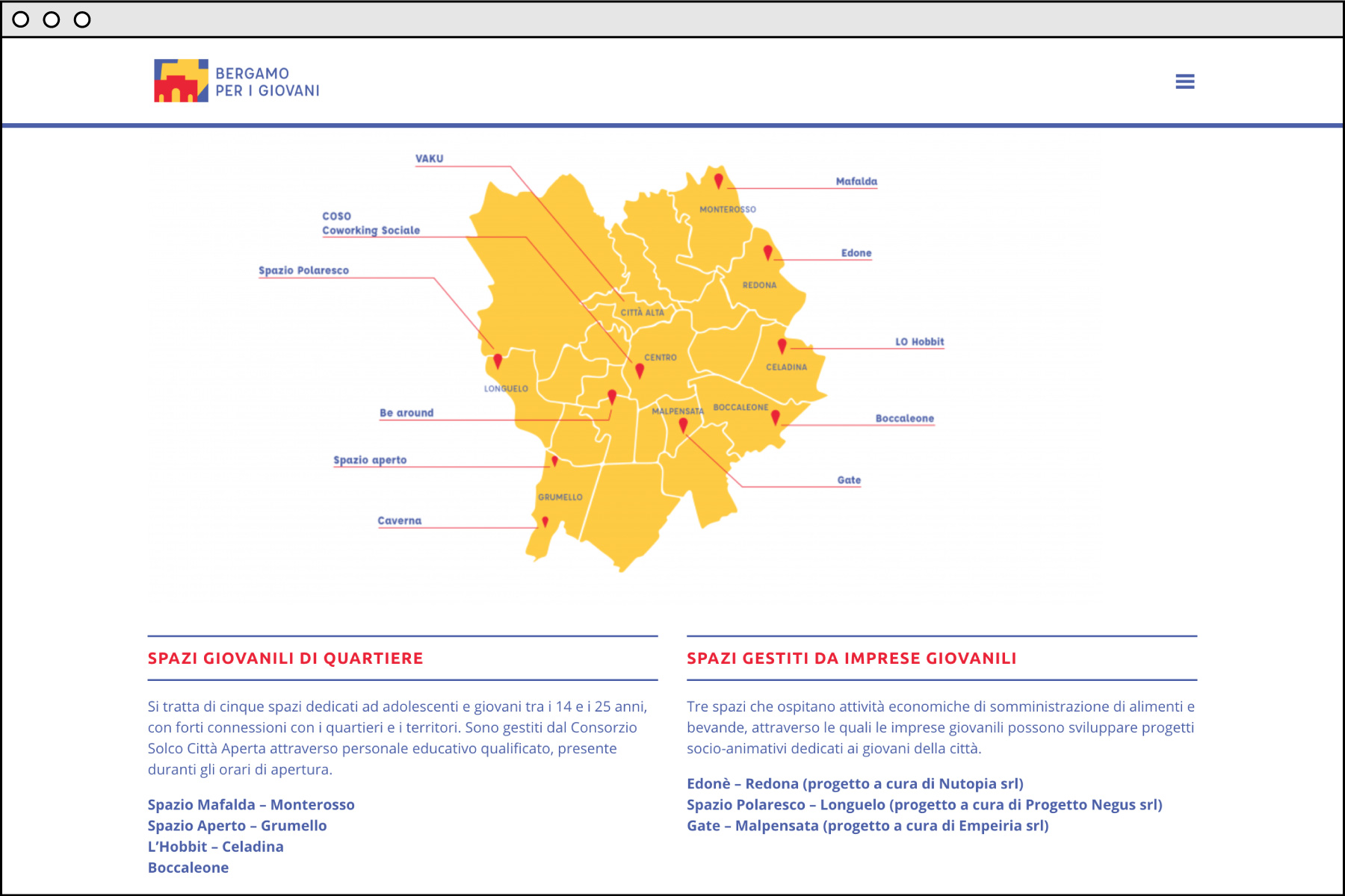 Bergamo per i Giovani sito web
